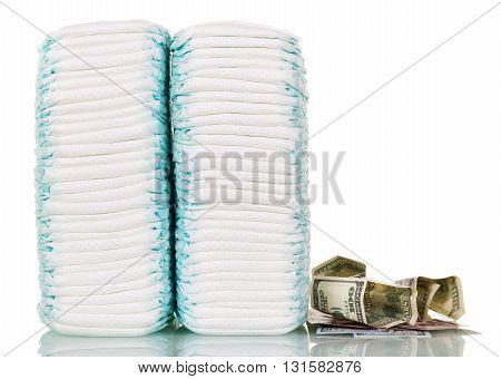 Stacks of diapers iizolirovano on a white background.