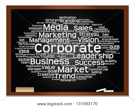 Vector concept or conceptual business, strategy and marketing abstract word cloud on blackboard with chalk background