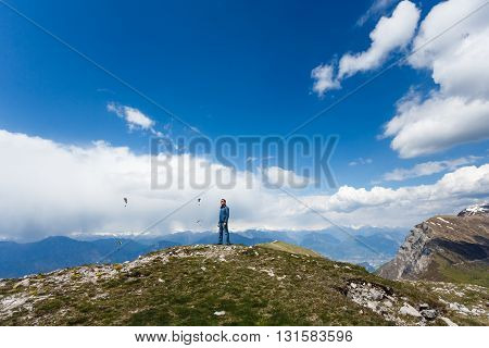 The man on the top of mount Monte Baldo Italy