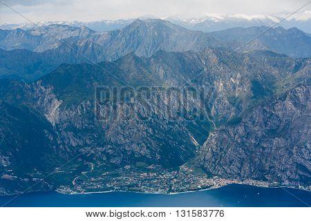 View of the Limone Sul Garda town on the shore of Lake Garda Italy