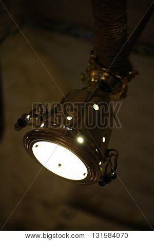 unusual lamp - Samovar on the restaurant's wall