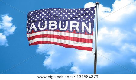 auburn, 3D rendering, city flag with stars and stripes