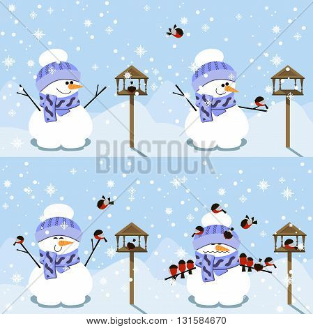Happy Snowman and funny story with bullfinches. Happy new year vector flat design illustration