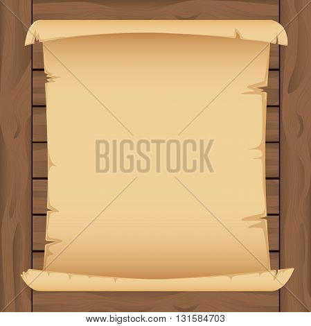 Old vintage paper scroll banner on a wooden background. For design of game map, or diploma, certificate. Vector illustration