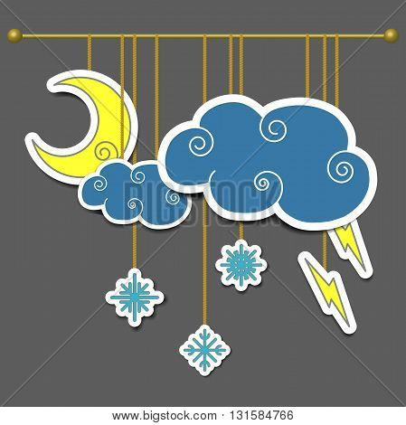 Scenery for theater, moon, cloud, lightning, snowflake. Weather icons. Vector illustration