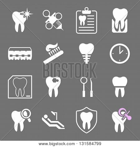 Set of white flat dental icons. Types of dental clinic services, equipment for dental care, dental treatment and prosthetics. Children's dentistry. Vector illustration