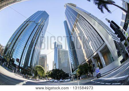 BRISBANE, AUSTRALIA - MAY 25 2016: Fisheye view looking up at Brisbane cityscape on Eagle Street near Riparian Plaza