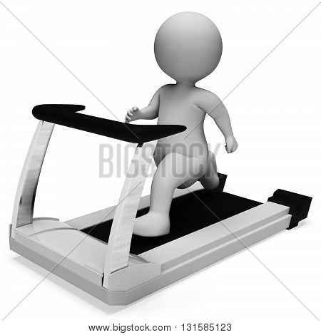 Character Running Represents Get Fit And Exercise 3D Rendering