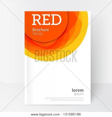 White Business Brochure, Annual Report, Leaflet Cover Template. Geometric abstract background red and yellow circles intersecting. concept creative design. EPS 10