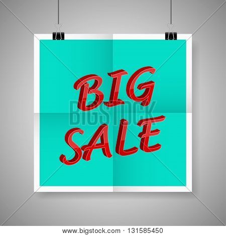 Big sale on blank paper poster on grey background