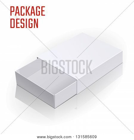 Vector Illustration of White Product Cardboard Package Box for Design, Website, Banner. Empty Mockup Element Template for Your Brand or Product. Isolated on White Background