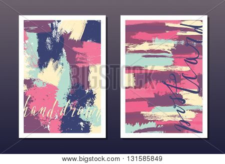 Modern grunge brush design templates, wedding invitation, postcard, art vector cards design in bright colors
