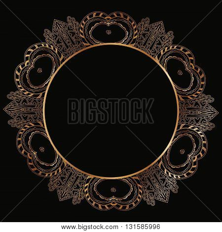 Round Lace Border Frame Silhouettes. Can Be Used For Decoration And Design Photo Frame, Menu, Card,