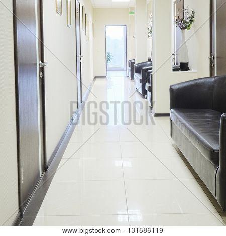 Interior of a dark corridor