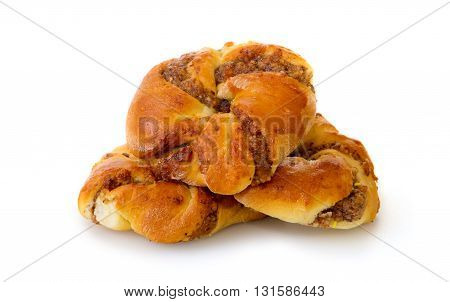 Danish pastry isolated on the white background.