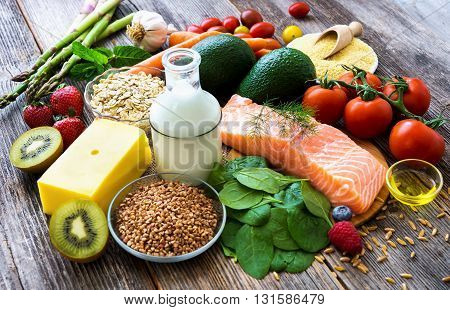 Selection Of Healthy Food On Rustic Wooden Background