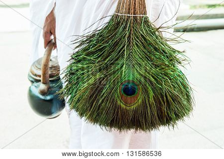 Jain peacock feather broom detail Calcutta India