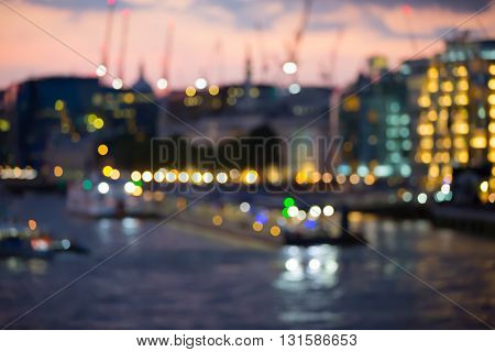 at twilight and first night's lights, blur background