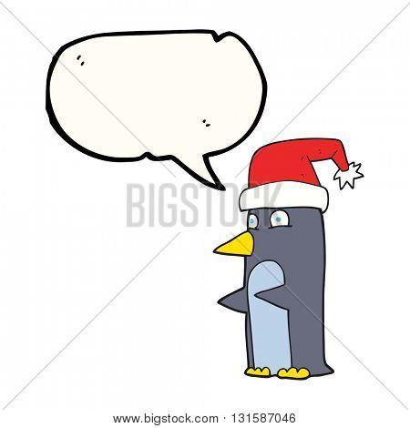 freehand drawn speech bubble cartoon christmas penguin