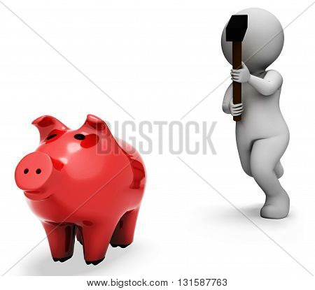 Piggybank Character Indicates Spending Word And Banking 3D Rendering