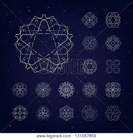 The circular geometric patterns. The symbols and items. Vector set. Magic, mandala, philosophy, space.