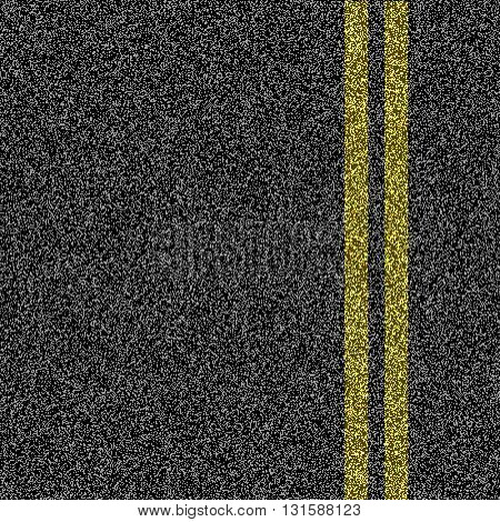 Asphalt road with double yellow marking line. Vector.
