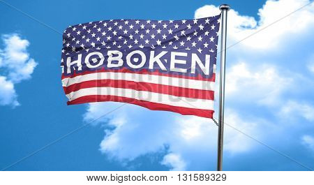 hoboken, 3D rendering, city flag with stars and stripes