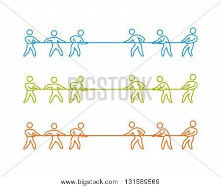 Tug of war label and symbol. Vector thin linear tug of war logo and icon.