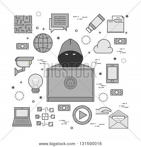 Concept of hacking and internet crimes. Hackers and cyber criminals online.