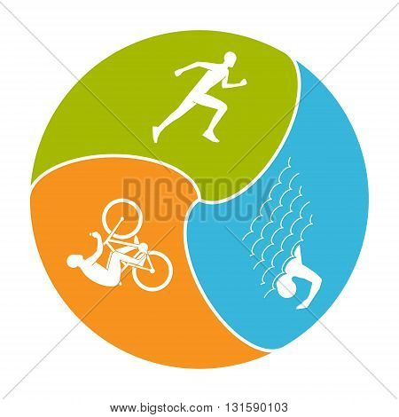 Vector stylish logo for triathlon. Modern set of silhouettes of triathlete. Cool symbol for triathlon.