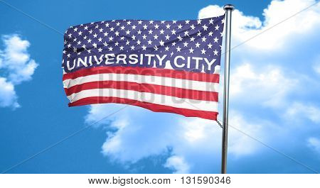 university city, 3D rendering, city flag with stars and stripes
