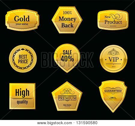 Collection gold vip labels for promo seals. Can be use for website, online-shop, design certificate. Quality stickers round. Vector retro objects
