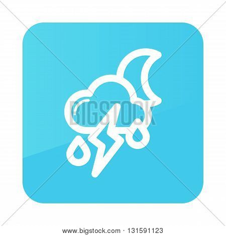 Moon Cloud Rain Lightning outline icon. Sleep night dreams symbol. Meteorology. Weather. Vector illustration eps 10