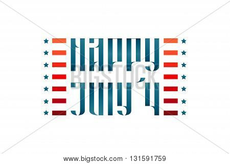 Happy July 4 medieval traditional vector lettering