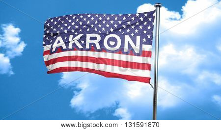 akron, 3D rendering, city flag with stars and stripes