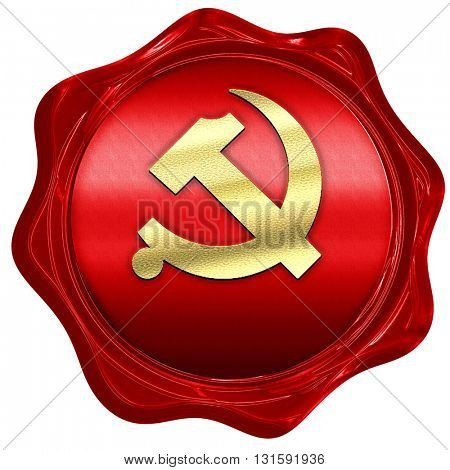 Communist sign with red and yellow colors, 3D rendering, a red w