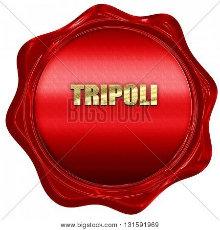 tripoli, 3D rendering, a red wax seal