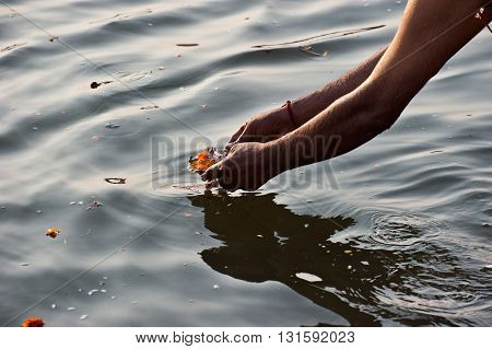 Leaving a flower offer during the daily worship in the Ganges Varanasi India