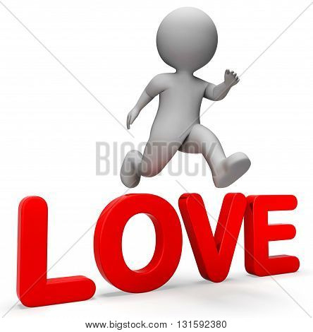 Attain Love Indicates Character Affection And Attained 3D Rendering