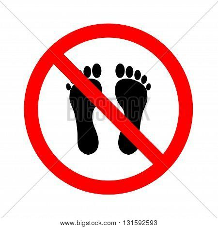 No Bare Feet .Vector illustration on white background