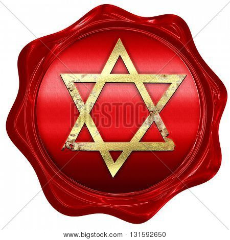 Star of david, 3D rendering, a red wax seal