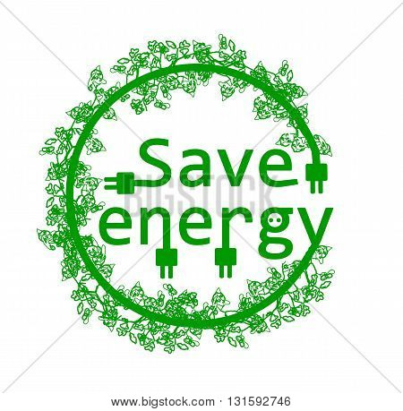 Save energy with branch - vector illustration.