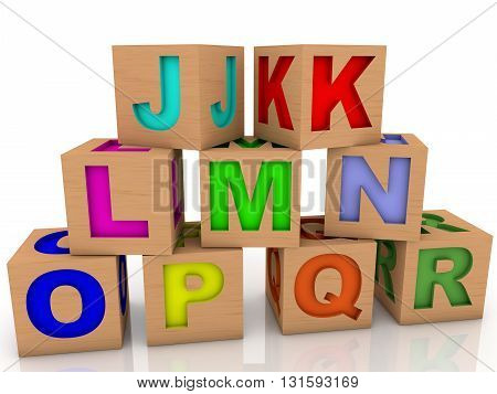 Wooden toy cubes with differents letters on white . 3D illustration .