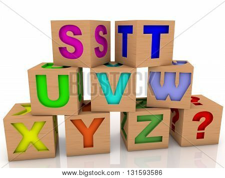 Wooden toy cubes with differents letters and question mark . 3D illustration .