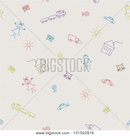 Seamless sample with a children's drawings. Vector illustration. It can be used as a background for the websites, packing, fabrics