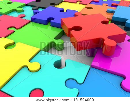 Puzzle pieces in various colors . 3D illustration .