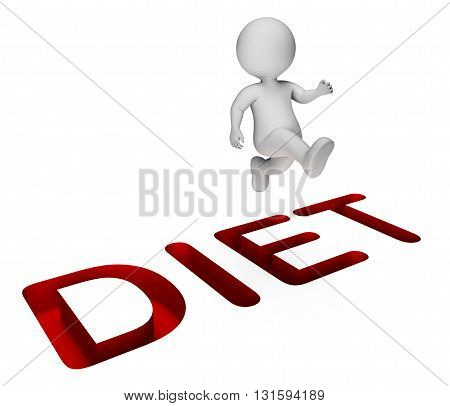 Success Character Means Weight Loss And Diet 3D Rendering