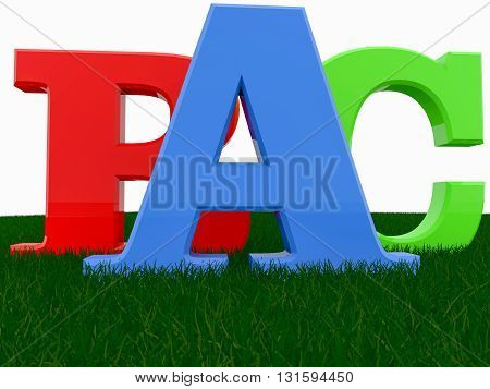 Letters A,B,C on green grass. 3D illustration .