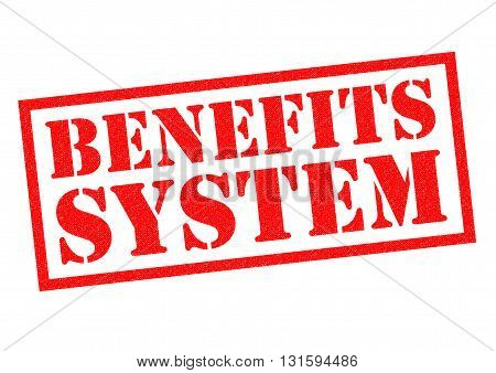 BENEFITS SYSTEM red Rubber Stamp over a white background.