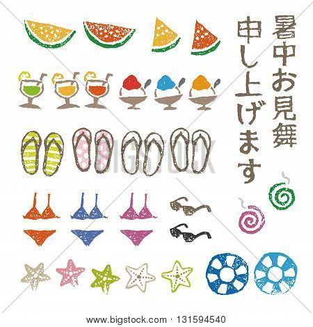 Summer greeting elements watermelon swimsuites flipflops and mosquito coil